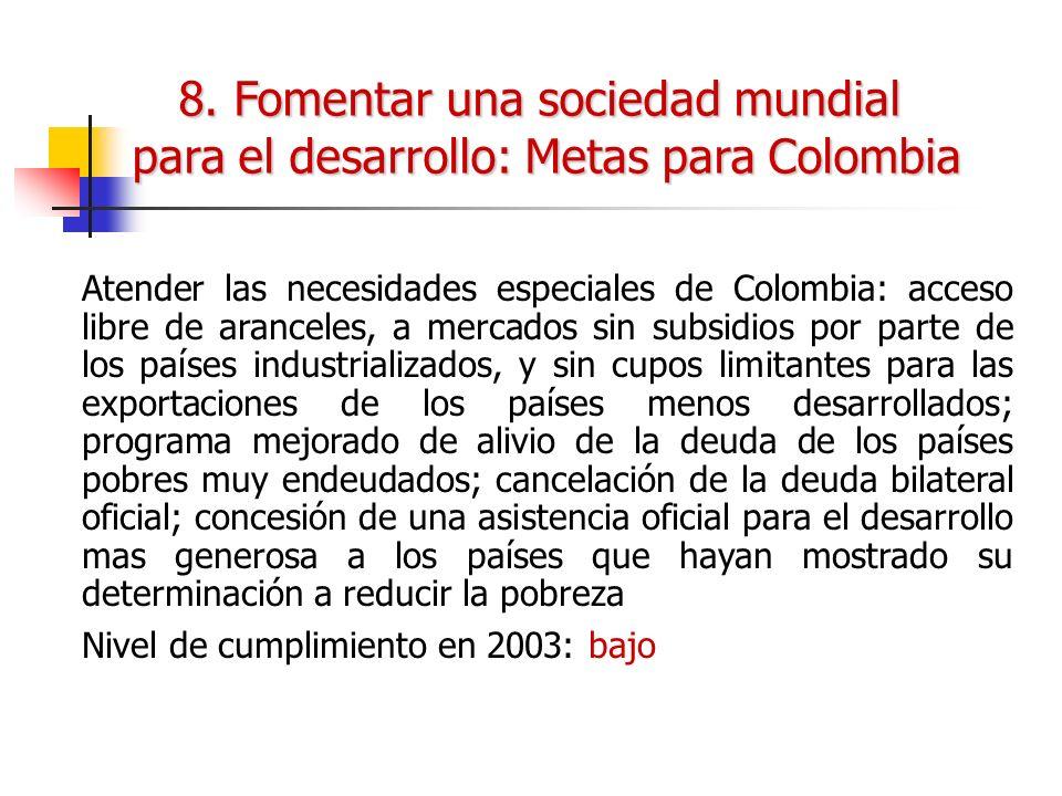 Atender las necesidades especiales de Colombia: acceso libre de aranceles, a mercados sin subsidios por parte de los países industrializados, y sin cu