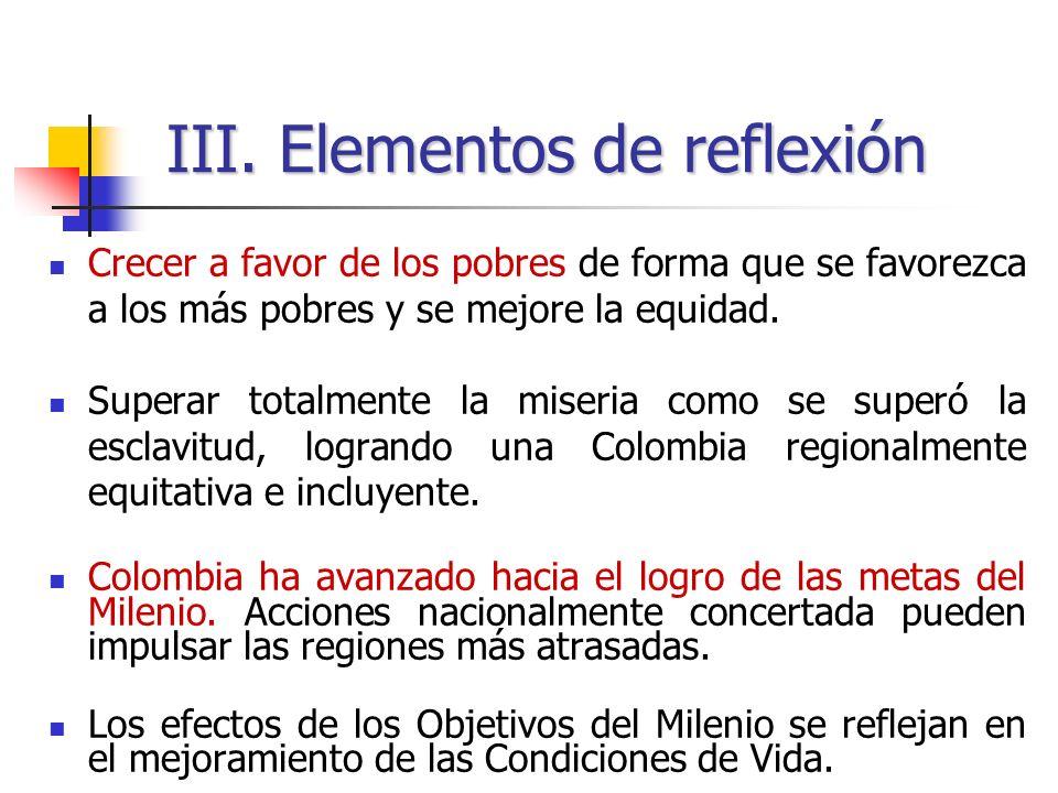 III. Elementos de reflexión Crecer a favor de los pobres de forma que se favorezca a los más pobres y se mejore la equidad. Superar totalmente la mise