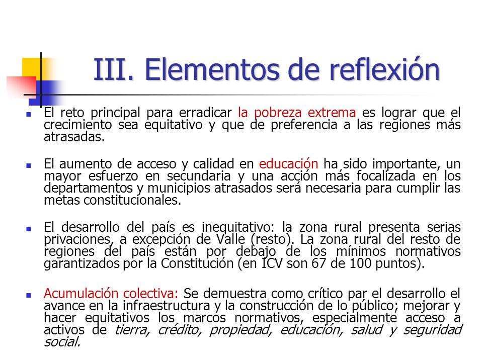 III. Elementos de reflexión El reto principal para erradicar la pobreza extrema es lograr que el crecimiento sea equitativo y que de preferencia a las