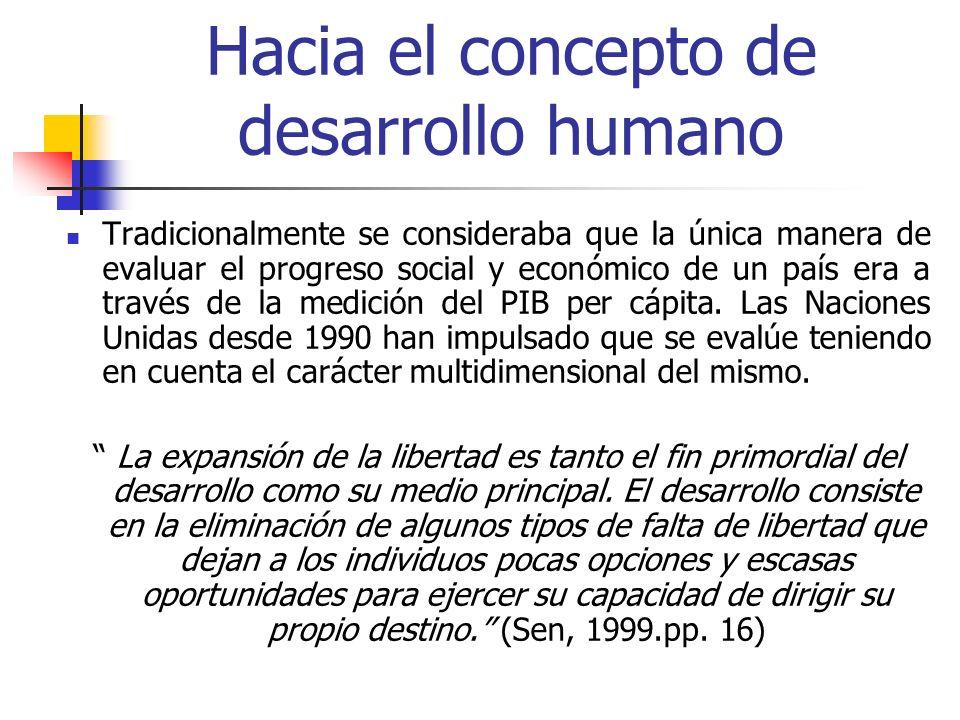 Hacia el concepto de desarrollo humano Tradicionalmente se consideraba que la única manera de evaluar el progreso social y económico de un país era a