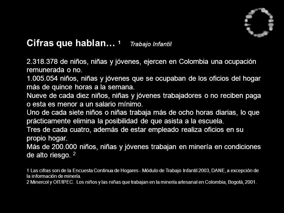 Cifras que hablan… 1 Trabajo Infantil 2.318.378 de niños, niñas y jóvenes, ejercen en Colombia una ocupación remunerada o no. 1.005.054 niños, niñas y