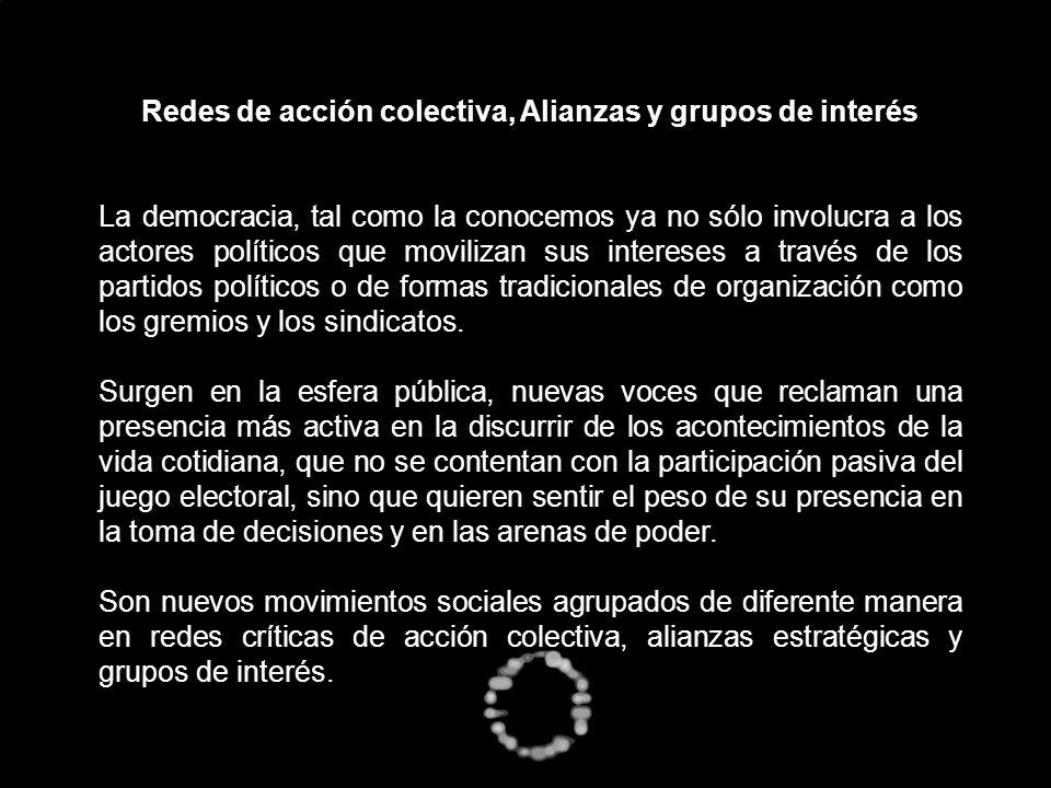 Redes de acción colectiva, Alianzas y grupos de interés La democracia, tal como la conocemos ya no sólo involucra a los actores políticos que moviliza