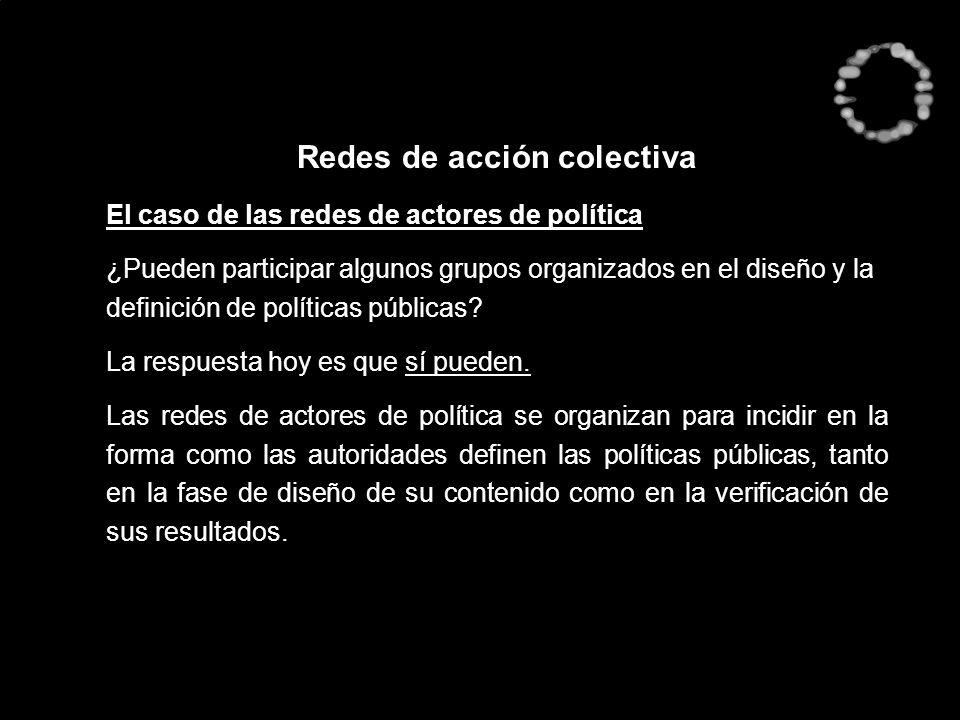 Redes de acción colectiva El caso de las redes de actores de política ¿Pueden participar algunos grupos organizados en el diseño y la definición de po