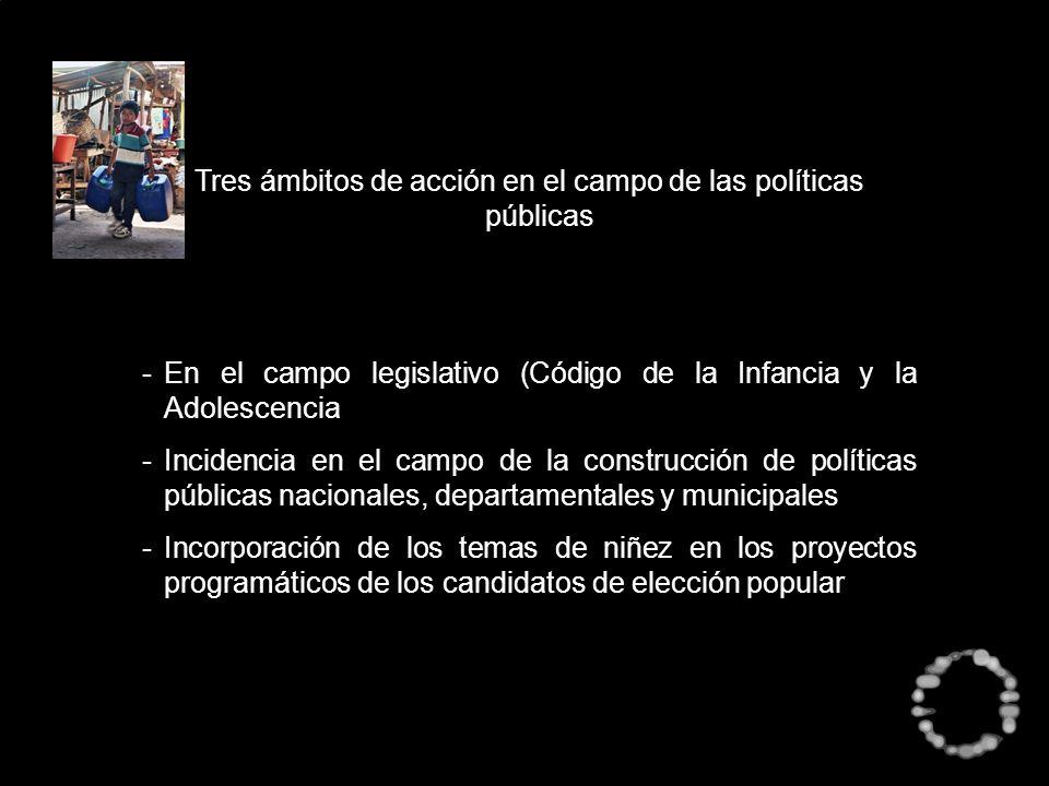 Tres ámbitos de acción en el campo de las políticas públicas -En el campo legislativo (Código de la Infancia y la Adolescencia -Incidencia en el campo