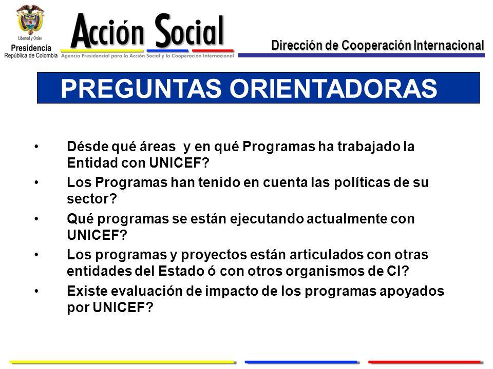 PREGUNTAS ORIENTADORAS Désde qué áreas y en qué Programas ha trabajado la Entidad con UNICEF? Los Programas han tenido en cuenta las políticas de su s
