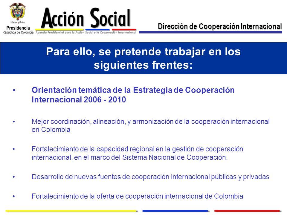 Para ello, se pretende trabajar en los siguientes frentes: Orientación temática de la Estrategia de Cooperación Internacional 2006 - 2010 Mejor coordinación, alineación, y armonización de la cooperación internacional en Colombia Fortalecimiento de la capacidad regional en la gestión de cooperación internacional, en el marco del Sistema Nacional de Cooperación.