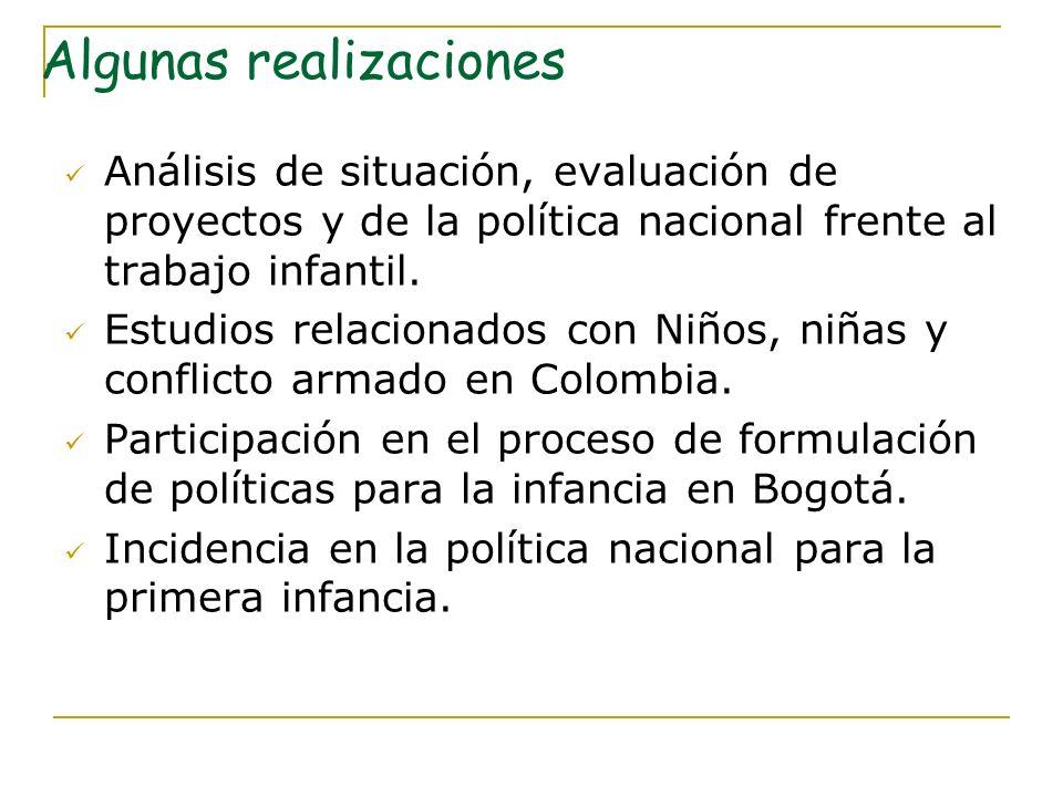 Análisis de situación, evaluación de proyectos y de la política nacional frente al trabajo infantil. Estudios relacionados con Niños, niñas y conflict