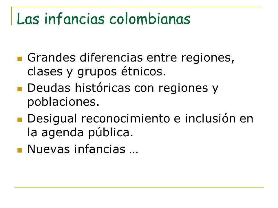 Las infancias colombianas Grandes diferencias entre regiones, clases y grupos étnicos. Deudas históricas con regiones y poblaciones. Desigual reconoci