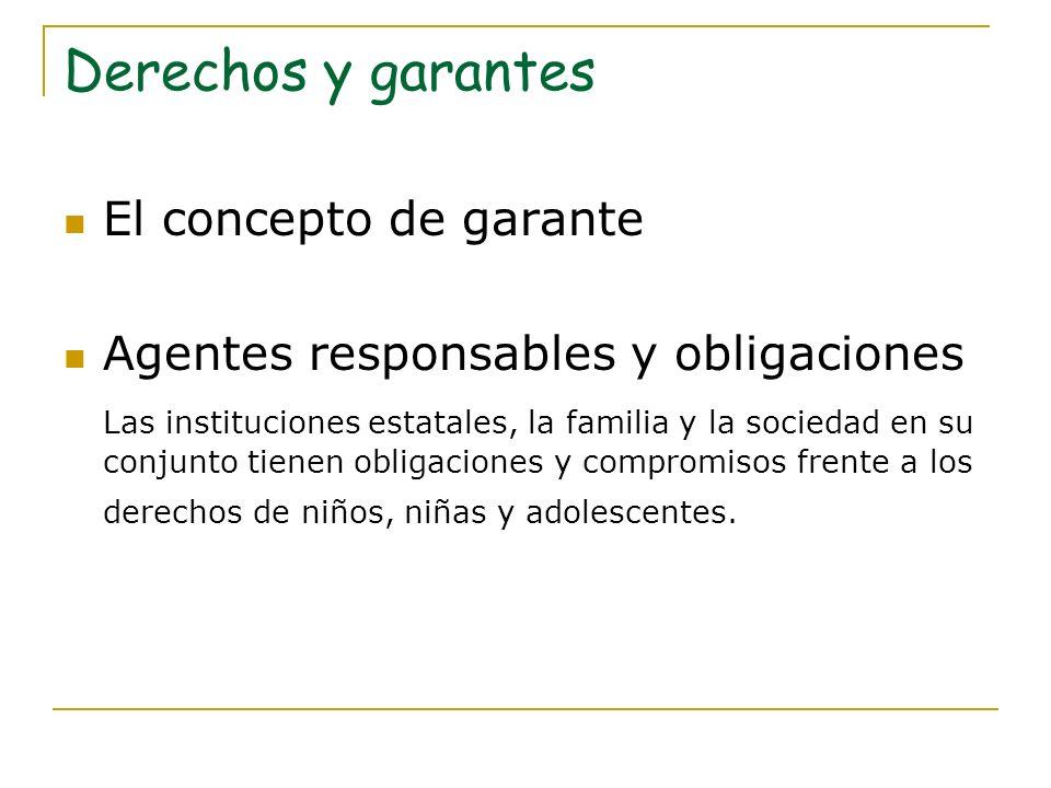 Derechos y garantes Capacidades de los agentes: Condiciones para garantizar los derechos.