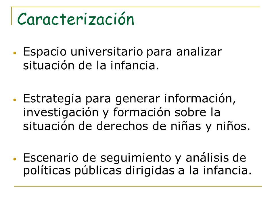 Campo de trabajo académico Definido por dos ejes: situación de la infancia en el país y análisis de políticas públicas.