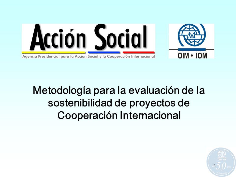 1 Metodología para la evaluación de la sostenibilidad de proyectos de Cooperación Internacional