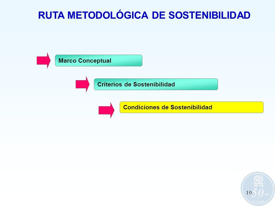 10 RUTA METODOLÓGICA DE SOSTENIBILIDAD Marco Conceptual Criterios de Sostenibilidad Condiciones de Sostenibilidad