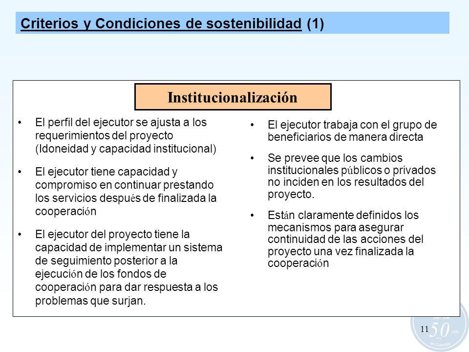 11 Institucionalización El ejecutor trabaja con el grupo de beneficiarios de manera directa Se prevee que los cambios institucionales p ú blicos o pri