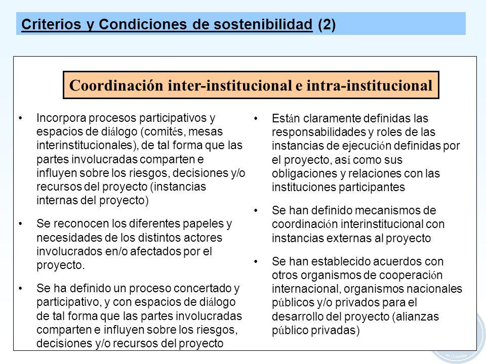 12 Coordinación inter-institucional e intra-institucional Incorpora procesos participativos y espacios de di á logo (comit é s, mesas interinstitucion