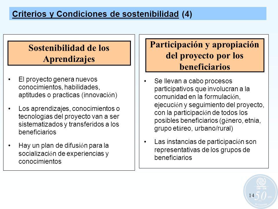 14 Sostenibilidad de los Aprendizajes El proyecto genera nuevos conocimientos, habilidades, aptitudes o practicas (innovaci ó n) Los aprendizajes, con