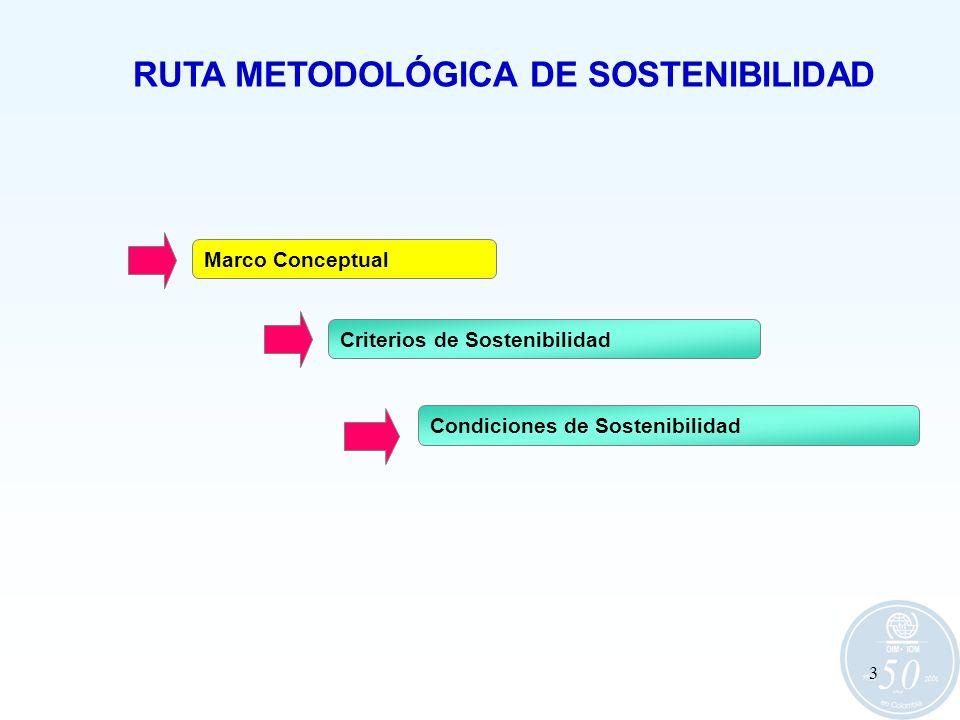 3 RUTA METODOLÓGICA DE SOSTENIBILIDAD Marco Conceptual Criterios de Sostenibilidad Condiciones de Sostenibilidad