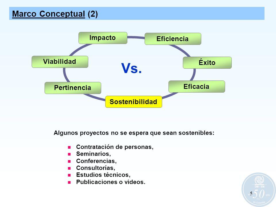 5 Eficiencia Sostenibilidad Eficacia Algunos proyectos no se espera que sean sostenibles: Contratación de personas, Seminarios, Conferencias, Consulto