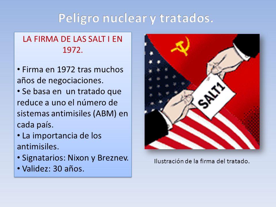 LA FIRMA DE LAS SALT I EN 1972. Firma en 1972 tras muchos años de negociaciones. Se basa en un tratado que reduce a uno el número de sistemas antimisi