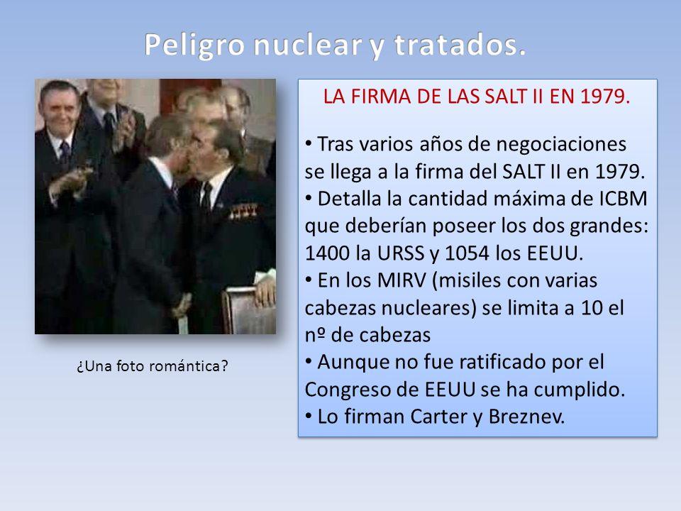 LA FIRMA DE LAS SALT II EN 1979. Tras varios años de negociaciones se llega a la firma del SALT II en 1979. Detalla la cantidad máxima de ICBM que deb