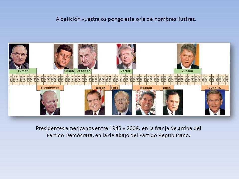 A petición vuestra os pongo esta orla de hombres ilustres. Presidentes americanos entre 1945 y 2008, en la franja de arriba del Partido Demócrata, en