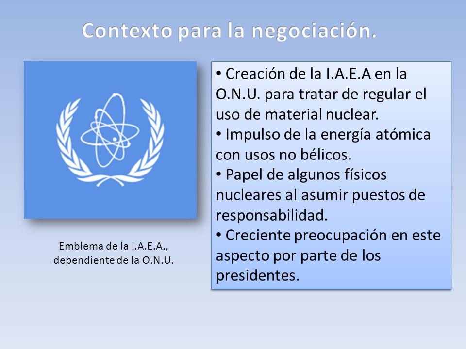 Creación de la I.A.E.A en la O.N.U. para tratar de regular el uso de material nuclear. Impulso de la energía atómica con usos no bélicos. Papel de alg