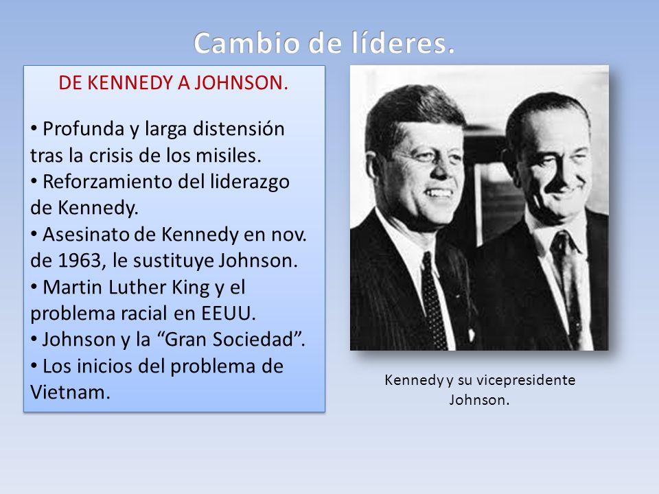 DE KENNEDY A JOHNSON. Profunda y larga distensión tras la crisis de los misiles. Reforzamiento del liderazgo de Kennedy. Asesinato de Kennedy en nov.