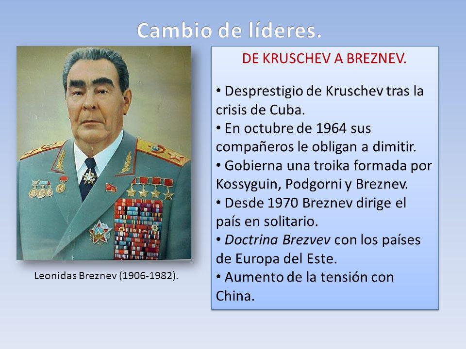DE KRUSCHEV A BREZNEV. Desprestigio de Kruschev tras la crisis de Cuba. En octubre de 1964 sus compañeros le obligan a dimitir. Gobierna una troika fo