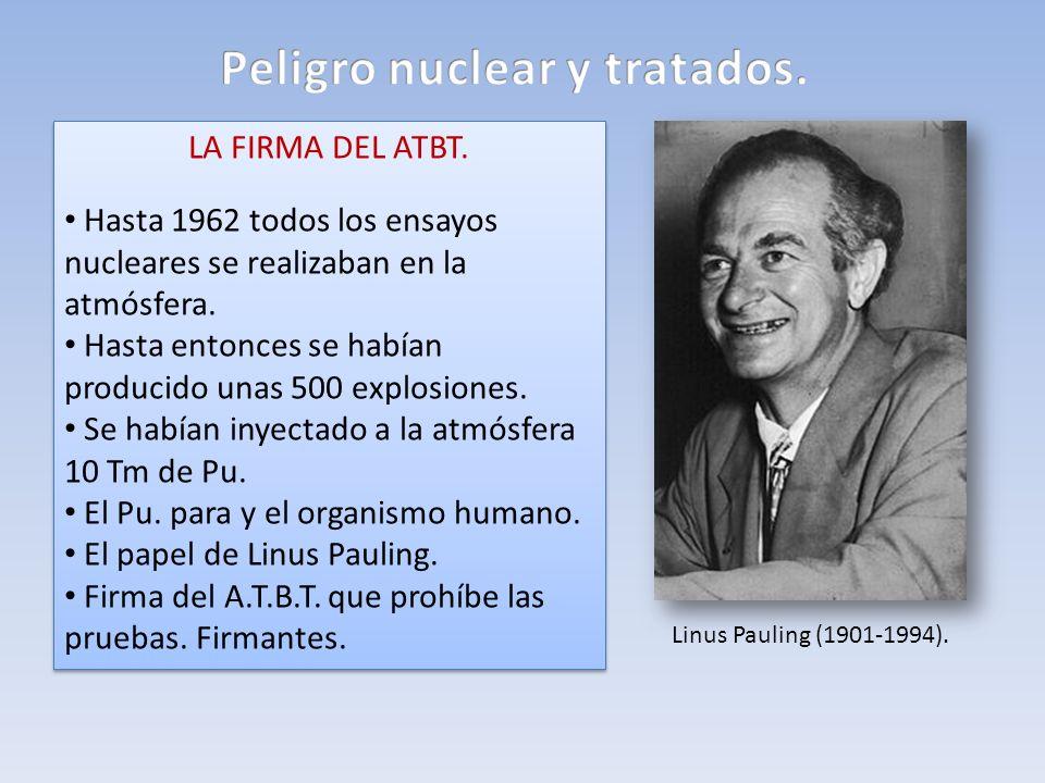 LA FIRMA DEL ATBT. Hasta 1962 todos los ensayos nucleares se realizaban en la atmósfera. Hasta entonces se habían producido unas 500 explosiones. Se h