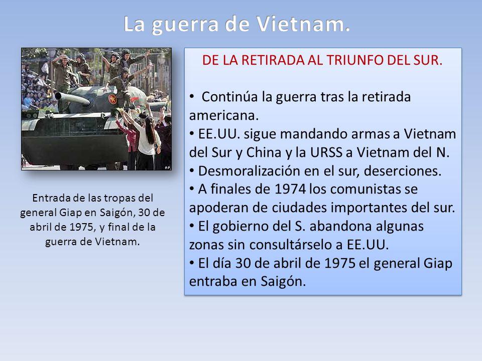 DE LA RETIRADA AL TRIUNFO DEL SUR. Continúa la guerra tras la retirada americana. EE.UU. sigue mandando armas a Vietnam del Sur y China y la URSS a Vi