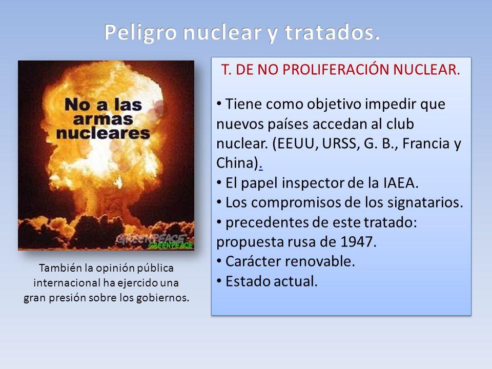 T. DE NO PROLIFERACIÓN NUCLEAR. Tiene como objetivo impedir que nuevos países accedan al club nuclear. (EEUU, URSS, G. B., Francia y China).. El papel