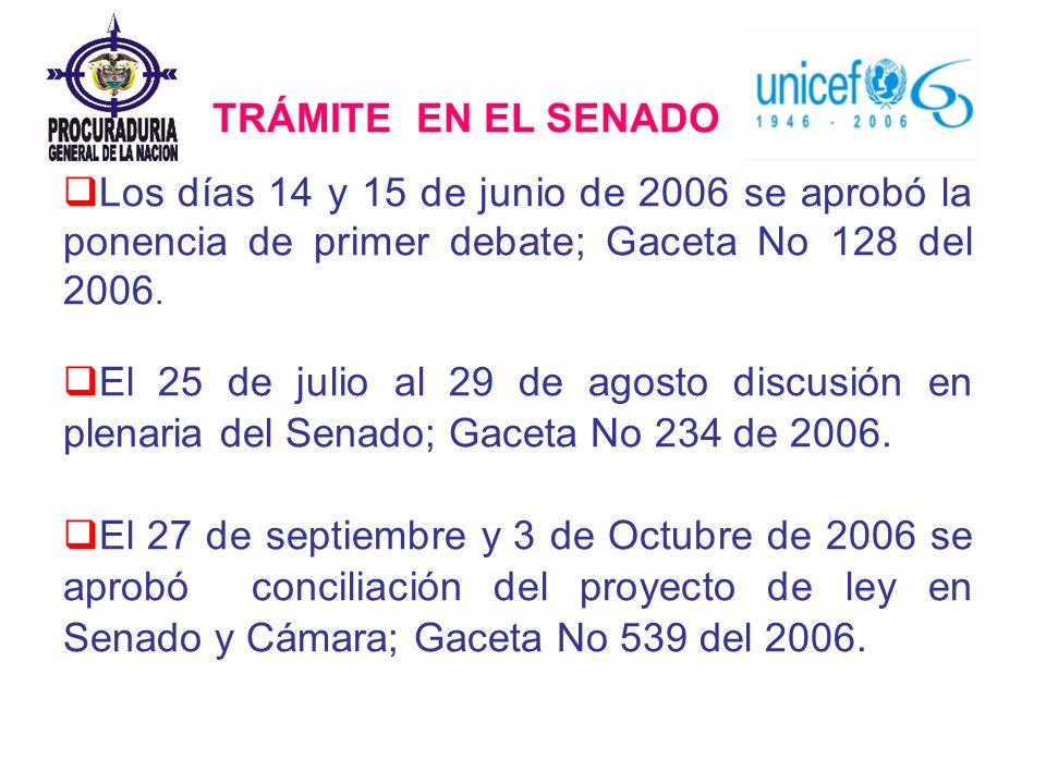 Los días 14 y 15 de junio de 2006 se aprobó la ponencia de primer debate; Gaceta No 128 del 2006. El 25 de julio al 29 de agosto discusión en plenaria