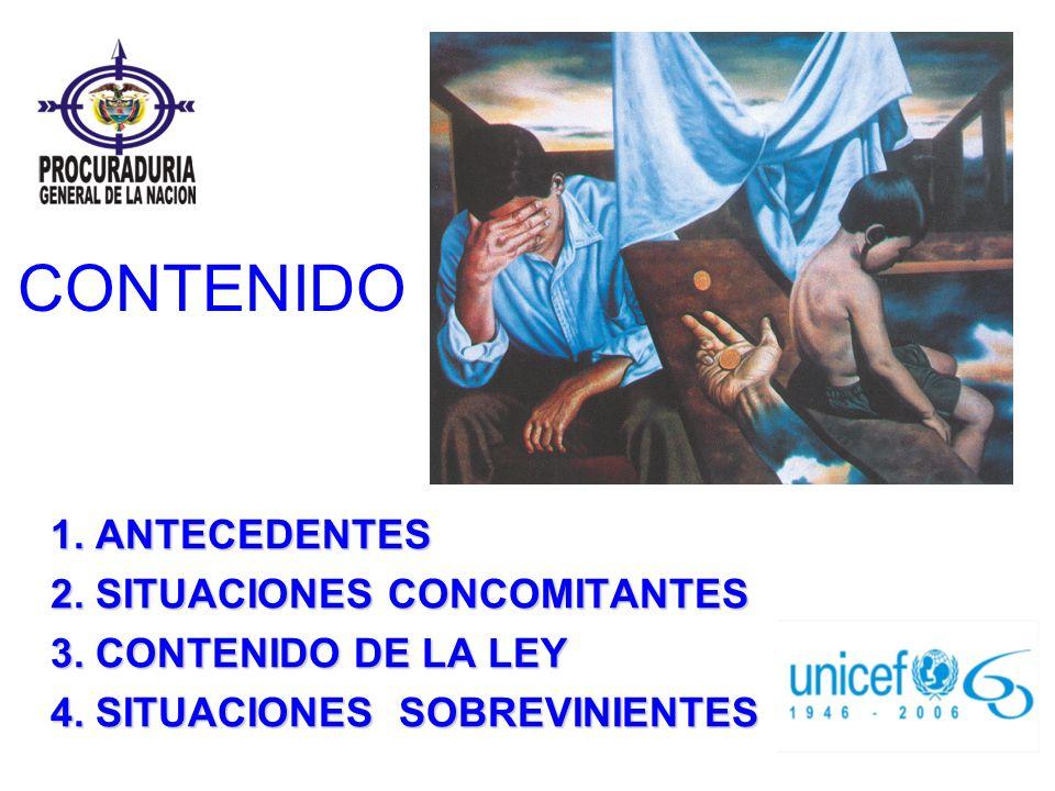 CONTENIDO 1. ANTECEDENTES 2. SITUACIONES CONCOMITANTES 3. CONTENIDO DE LA LEY 4. SITUACIONES SOBREVINIENTES
