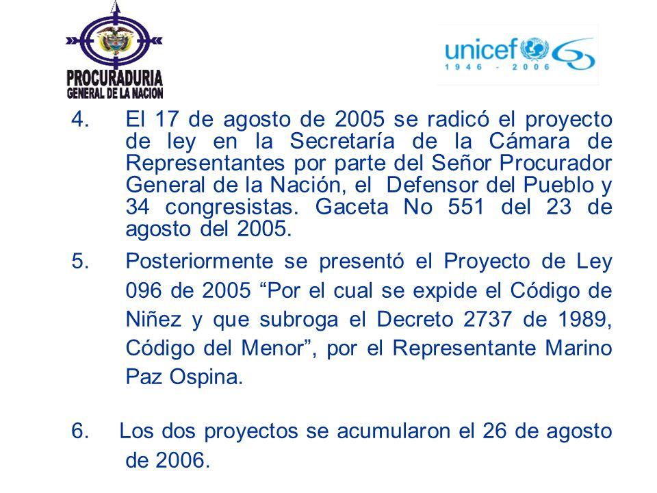 4. El 17 de agosto de 2005 se radicó el proyecto de ley en la Secretaría de la Cámara de Representantes por parte del Señor Procurador General de la N