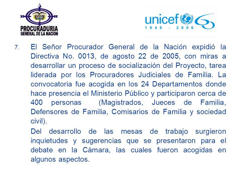 7. El Señor Procurador General de la Nación expidió la Directiva No. 0013, de agosto 22 de 2005, con miras a desarrollar un proceso de socialización d