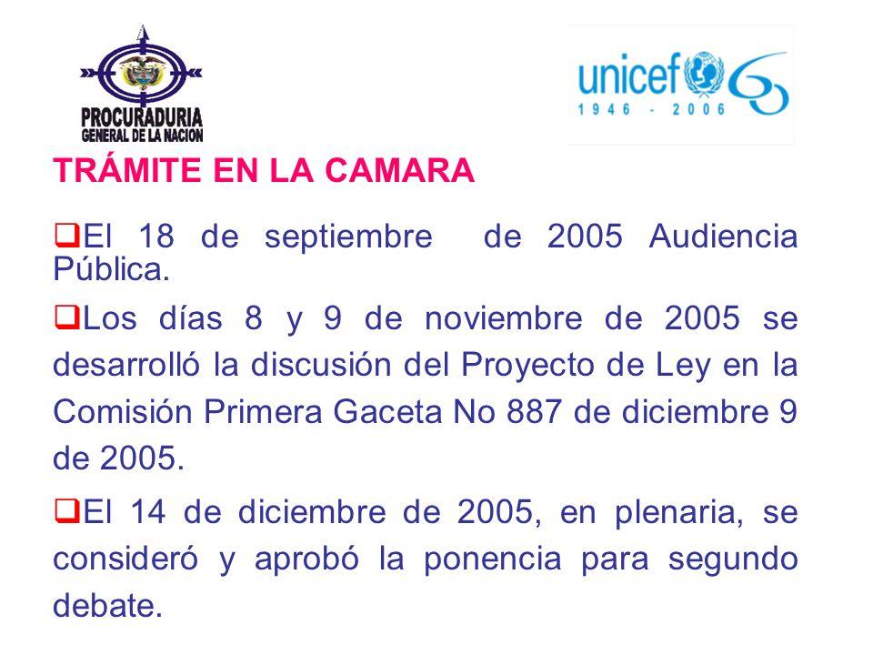 TRÁMITE EN LA CAMARA El 18 de septiembre de 2005 Audiencia Pública. Los días 8 y 9 de noviembre de 2005 se desarrolló la discusión del Proyecto de Ley