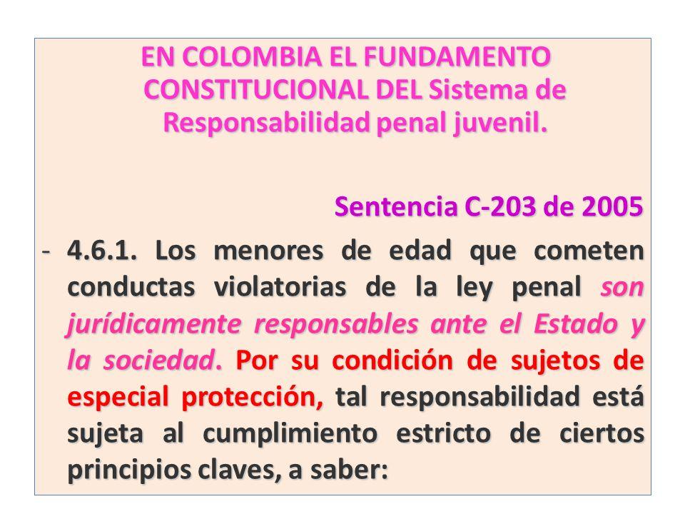 EN COLOMBIA EL FUNDAMENTO CONSTITUCIONAL DEL Sistema de Responsabilidad penal juvenil. EN COLOMBIA EL FUNDAMENTO CONSTITUCIONAL DEL Sistema de Respons