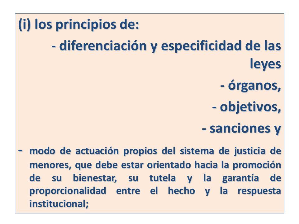 (i) los principios de: - diferenciación y especificidad de las leyes - órganos, - objetivos, - sanciones y - modo de actuación propios del sistema de