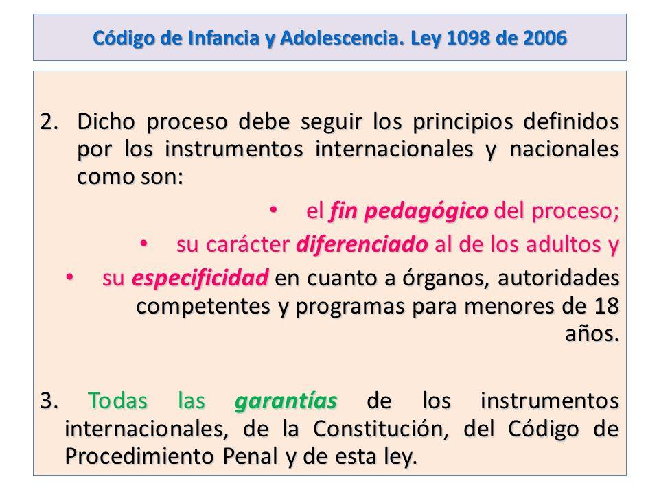 Código de Infancia y Adolescencia. Ley 1098 de 2006 2.Dicho proceso debe seguir los principios definidos por los instrumentos internacionales y nacion