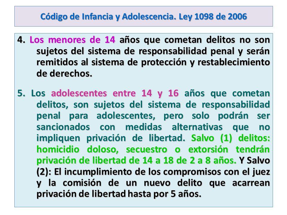 Código de Infancia y Adolescencia. Ley 1098 de 2006 4. Los menores de 14 años que cometan delitos no son sujetos del sistema de responsabilidad penal
