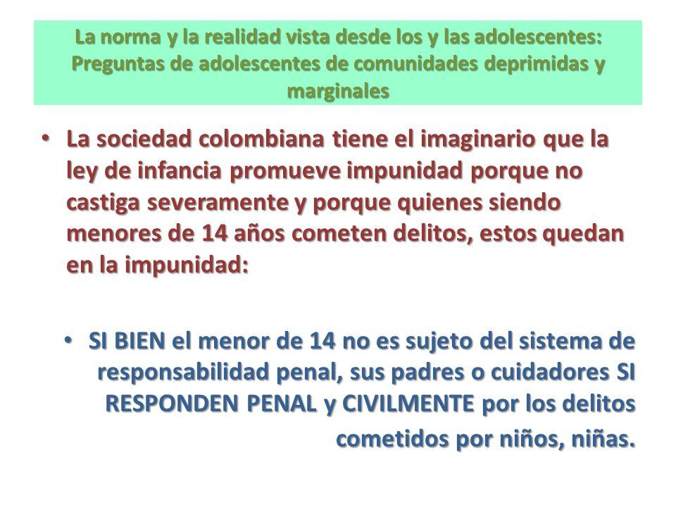 La norma y la realidad vista desde los y las adolescentes: Preguntas de adolescentes de comunidades deprimidas y marginales La sociedad colombiana tie