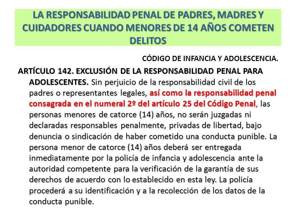 LA RESPONSABILIDAD PENAL DE PADRES, MADRES Y CUIDADORES CUANDO MENORES DE 14 AÑOS COMETEN DELITOS CÓDIGO DE INFANCIA Y ADOLESCENCIA. ARTÍCULO 142. EXC