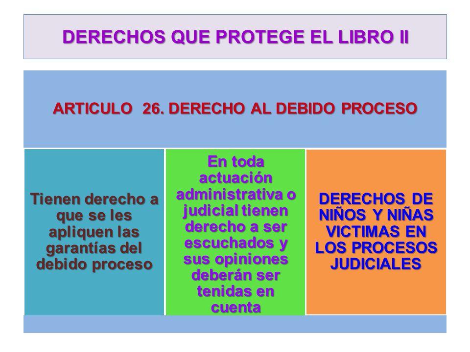 DERECHOS QUE PROTEGE EL LIBRO II ARTICULO 26. DERECHO AL DEBIDO PROCESO Tienen derecho a que se les apliquen las garantías del debido proceso En toda