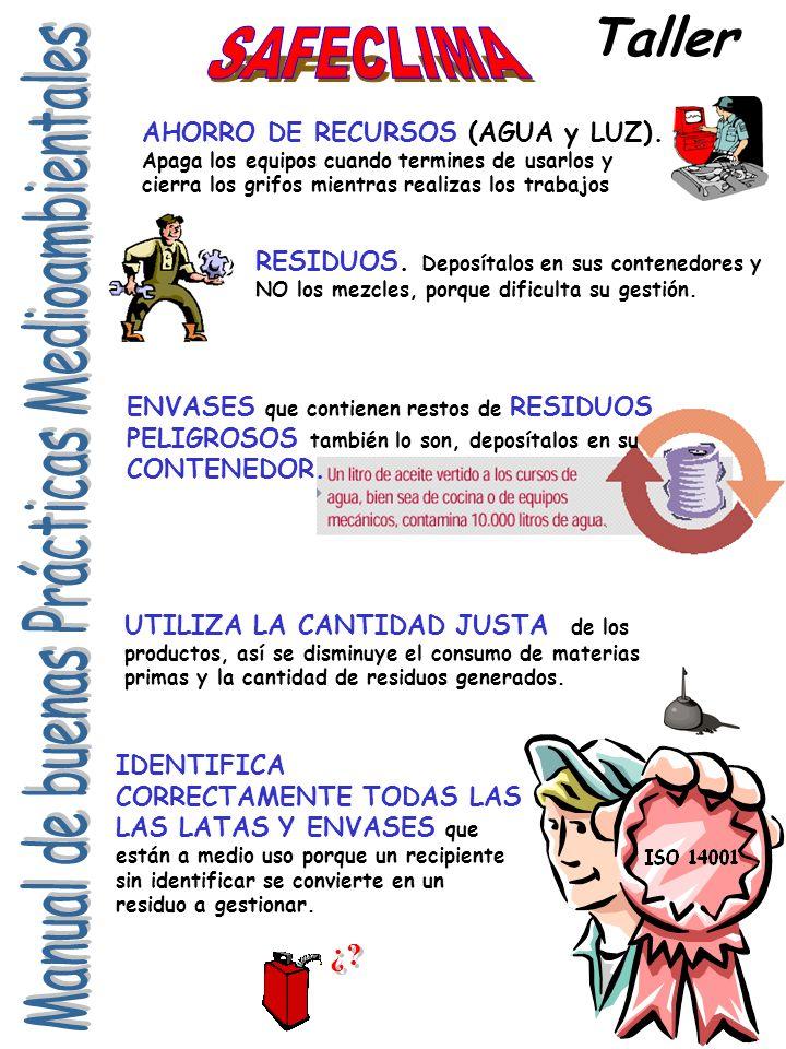 Taller AHORRO DE RECURSOS (AGUA y LUZ).