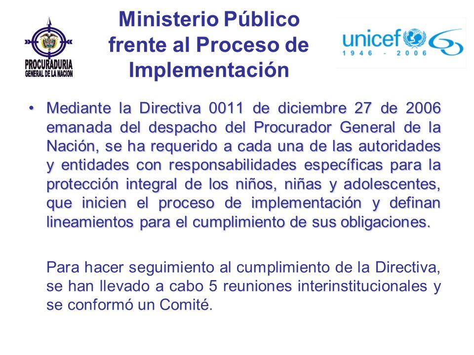 Ministerio Público frente al Proceso de Implementación Mediante la Directiva 0011 de diciembre 27 de 2006 emanada del despacho del Procurador General