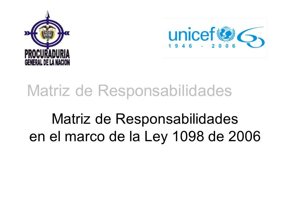 Matriz de Responsabilidades en el marco de la Ley 1098 de 2006 Matriz de Responsabilidades