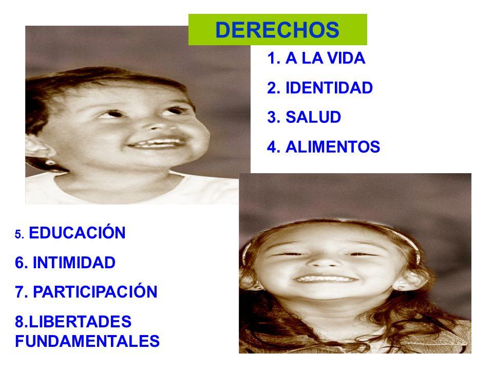 DERECHOS 1.A LA VIDA 2.IDENTIDAD 3.SALUD 4.ALIMENTOS 5. EDUCACIÓN 6. INTIMIDAD 7. PARTICIPACIÓN 8.LIBERTADES FUNDAMENTALES