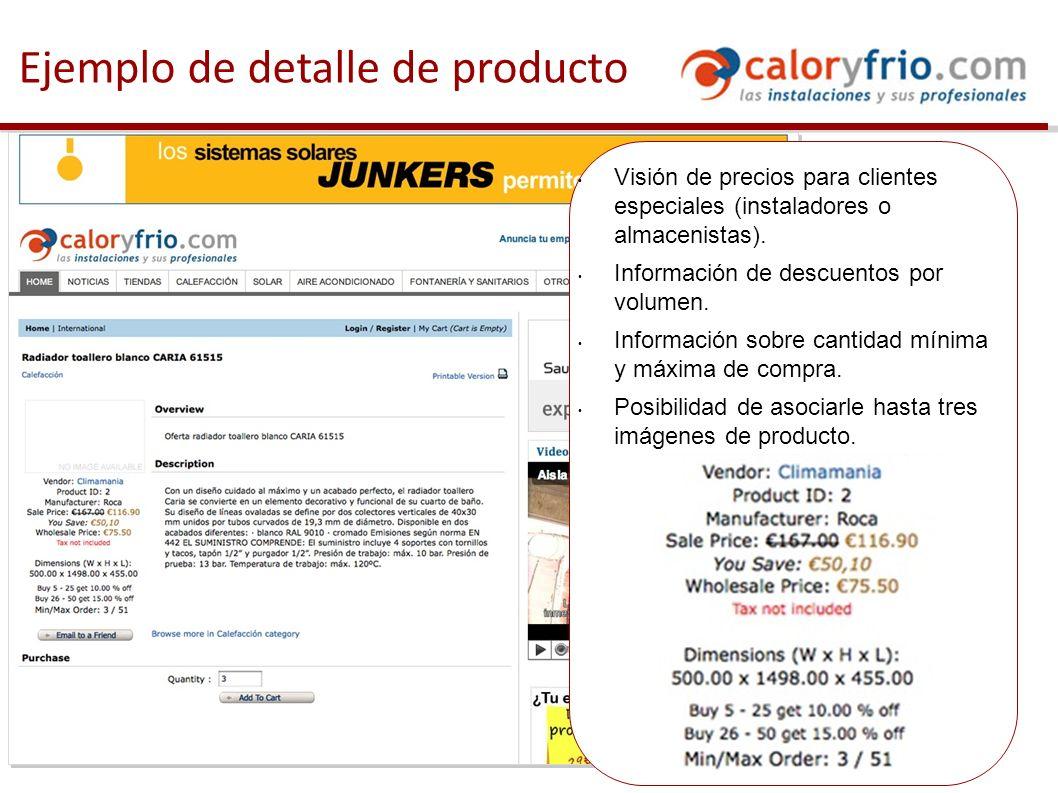 Ejemplo de detalle de producto Visión de precios para clientes especiales (instaladores o almacenistas).
