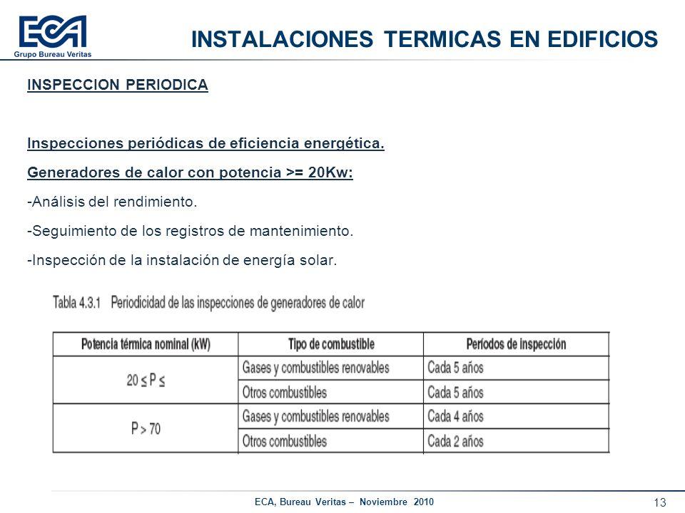 13 ECA, Bureau Veritas – Noviembre 2010 INSTALACIONES TERMICAS EN EDIFICIOS INSPECCION PERIODICA Inspecciones periódicas de eficiencia energética. Gen