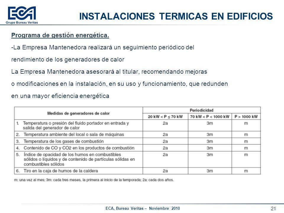 21 ECA, Bureau Veritas – Noviembre 2010 INSTALACIONES TERMICAS EN EDIFICIOS Programa de gestión energética. -La Empresa Mantenedora realizará un segui