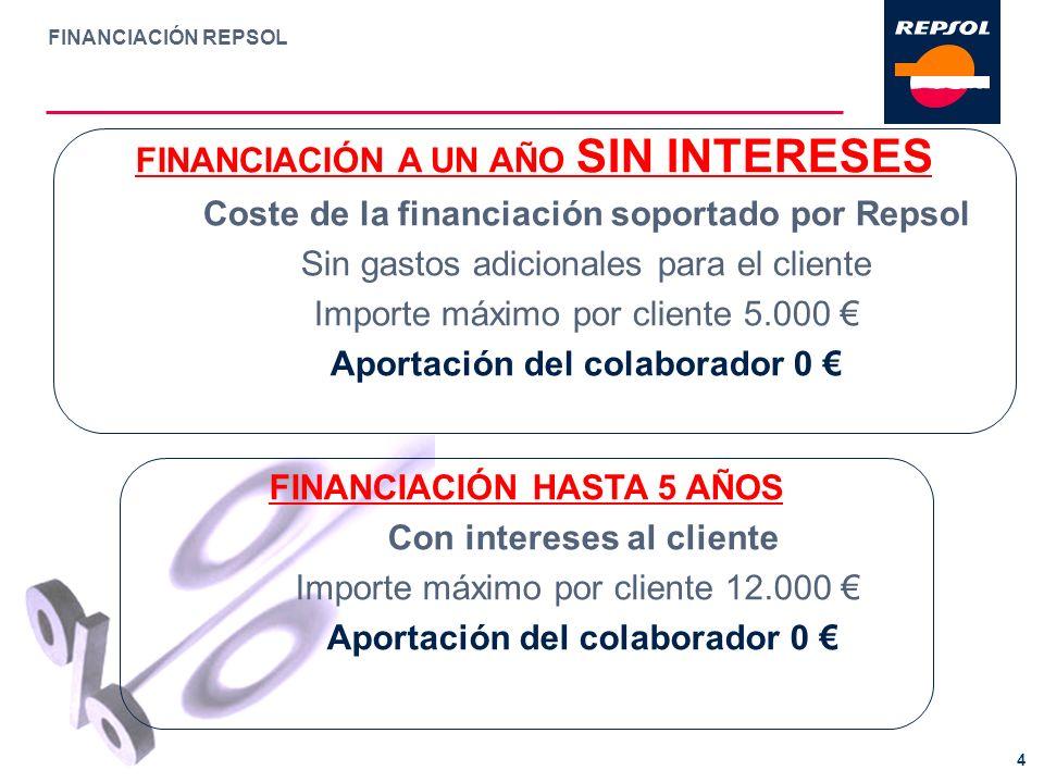 FINANCIACIÓN REPSOL 4 FINANCIACIÓN A UN AÑO SIN INTERESES Coste de la financiación soportado por Repsol Sin gastos adicionales para el cliente Importe
